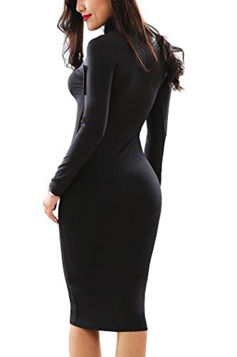 YMING Frauen sexy Stretch Langarm-Partei-Necked figurbetontes Kleid Schwarz