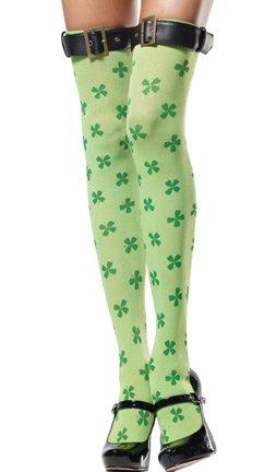 Leg Avenue - St. Patrick´s Day Kleeblatt Overknees mit Spangenabschluss - Grün - One Size - (Halloween Irland Kostüme)