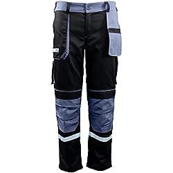 Bravery® Pantalon de Travail Homme, avec Genouillères, Pantalons de Sécurité Multipoche Professionnel - 100% Coton (46 - L)
