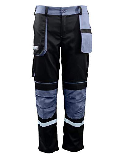 Bravery® Pantalon de Travail Homme, avec Genouillères, Pantalons de Sécurité Multipoche Professionnel - 100% Coton (50 - XL)