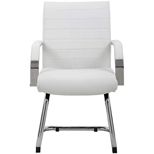 Chaise visiteur Identity - chaise fauteuil réunion conférence salle fêtes commune ville au design moderne - habillage cuir coloris blanc - Fauteuil piétement luge avec accoudoirs chromés