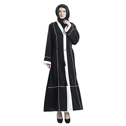 friendGG Damen Kaftan Abaya Muslimische Strickjacke Mit Jilbab-Abschlussballkleid F Slim Cardigan Sommer Muslimischer Kleider Dubai Style Jilbab Abschlussballkleid Vintage KostüM