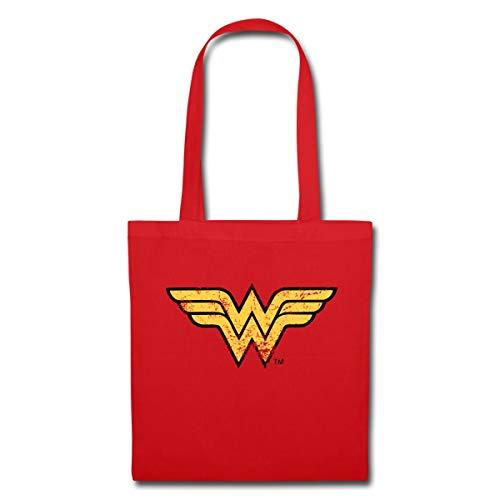 Spreadshirt DC Comics Justice League Wonder Woman Logo Stoffbeutel, Rot