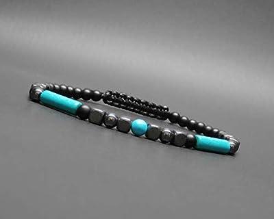 Bracelet fin homme, pierres naturelles, tube howlite turquoise, cube hématite, onyx noir mat Ø 4 mm