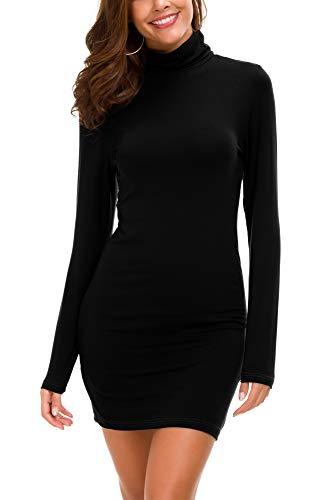 Damen Bodycon Kleid Rollkragen Langarm Basic T-Shirt Kleid (M, Schwarz)