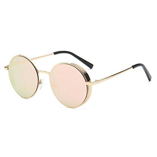 Herren und Damen Runde Sonnenbrille Rosennie Frauen Männer Mode Quadrate Metallrahmen Marke Klassische Sonnenbrille UV400 Kleine runde Spiegel reflektierendes Objektiv polarisierte Sonnenbrille (E)