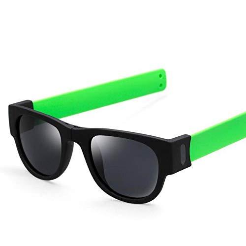 REALIKE Unisex Damen Herren Kreative Armband Faltbar Brille Sonnenbrille Polarisierte Sonnenbrille Fahren Brille Snap Armband Klassische Schwarz Travel Eyewear Sunglasses