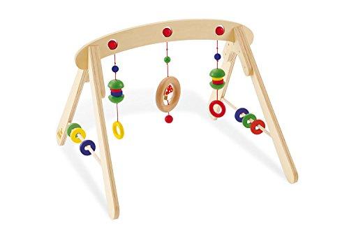 Pinolino Babygym Jane, aus Holz, zur Spiel- und Greifanimation, mit Kugeln, Ringen, Halbkugeln und einem Glückspilz, für Babys ab 3 Monaten