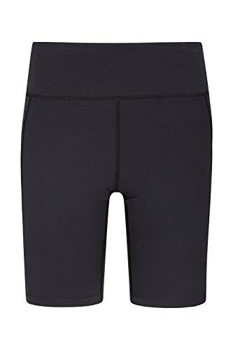 Mountain Warehouse Get The Message Yogashorts für Damen - Leichte Laufhose, verstellbarer Bund, schnelltrocknende Hose, pflegeleicht - Für Sport, Fitness, Laufen Schwarz DE 40 (EU 42)