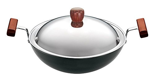 Futura Hard Anodised Round Bottom Deep-Fry Pan with Steel Lid, 22cm/1.5 Litres