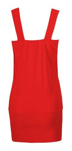 Fast Fashion - Top Sans Manches Diamonte Broche Détail Drapé Style Simple Top Du Parti - Femme Rouge