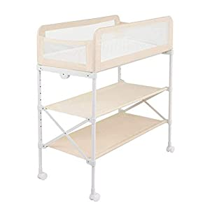 Baby Changing Table Unit On Wheels, Diaper Station Storage Trays and Bath, Table Height Adjustable, Fence Mode (Color : Ivory Color)   10