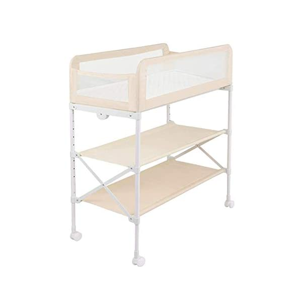 Baby Changing Table Unit On Wheels, Diaper Station Storage Trays and Bath, Table Height Adjustable, Fence Mode (Color : Ivory Color) GUYUE Two in one design- Baby changing table can be used as baby massaging table as well or dry your baby's small clothes, also can bathing. Iron tube paint + plastic + polyester mesh. Size- As shown, 85x50x89~119cm (1cm=0.39 inch) Suitable for babies 0~2 years old. 1