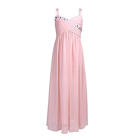YiZYiF Girls Kids Camisole Rhinestones Chiffon Junior Flower Bridesmaid Wedding Gown Pageant Party Dress Pearl Pink 3-4