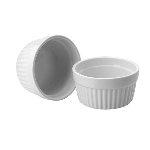 ToCi 2 weiße Creme Brulee Förmchen 9 cm | Schälchen für Ragout Fin | Pastetenform aus Keramik | auch für Schoko-Souffle