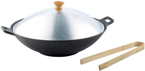 k Pfanne: Gusseisen Wok Set, 37cm (Asiatische Wok Gemüse Bratpfanne, Induktion) ()