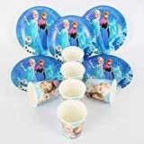 partymane queen elsa pure and safe party plates ice queen elsa and anna printed fancy cups and plates(10cups 10 plate)- Multi