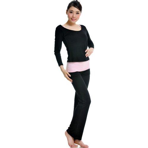 GENUINE 95% Modal Sports Clothes Soft Yoga Wear Set (3 Pieces) Women's nero - nero
