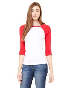 Baseball-Shirt mit 3/4-Ärmel - Farbe: White/Red - Größe: L -