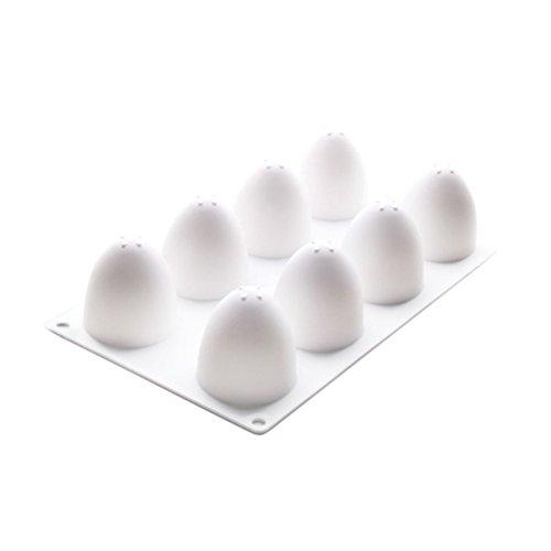 OUNONA 8 Gitter Ei Form Kuchen Form Silikon Backwerkzeuge für Chiffon Mousse Kuchen Schokolade Süßigkeiten (Ei-form Kuchen-form)