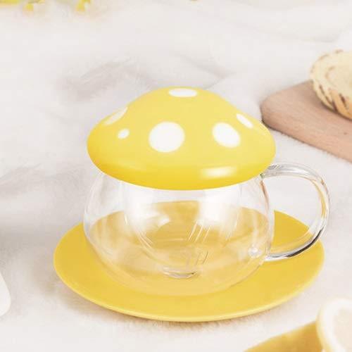 Especificaciones del productoNombre: Red taza de setas de color amarilloMaterial: vidrioPeso: 385gTalla:anchura: 9,6 cm / 3,77 pulgadasaltura: 9,8 cm / 3,85 pulgadasanchura Coaster: 14 cm / 5,51 pulgadasCONTENIDOS DEL PAQUETE:Taza x 1Introducción:1. ...