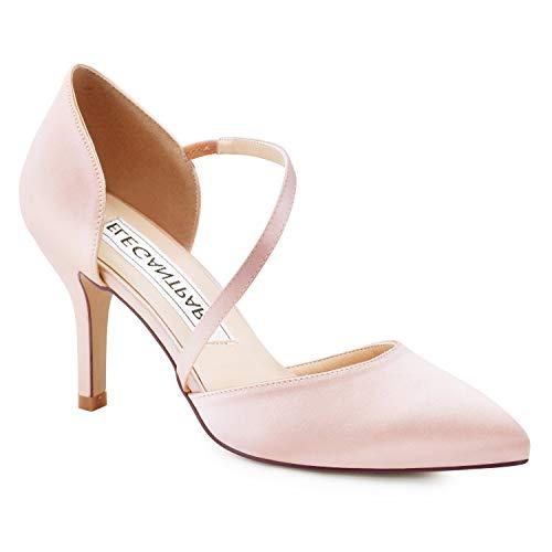 Duosheng & Elegant , Damen Pumps, Pink - Blush - Größe: EU 40 Blush Satin Schuhe