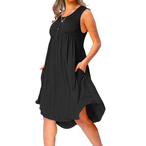 OverDose Boutique Freizeitkleider für Damen Tank Tops Blusenkleid Ärmellos Rundhals Hoher Taille Plissee Asymmetrisch Saum Einfarbig Casual Knielang Sommerkleider Strandkleid