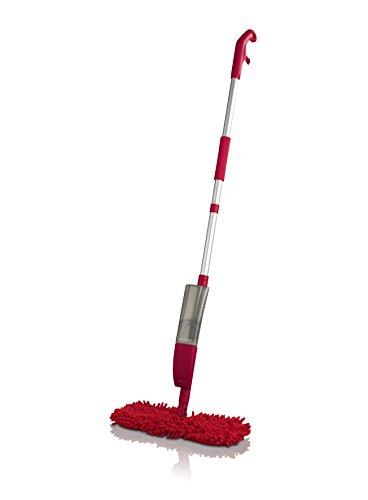 CLEANmaxx Spray-Mopp flexibel rot (Praktischer Wende-Mopp zur Nass- und Trockenreinigung)