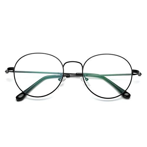 Sakuldes Mental Round Brillengestell Nicht Verschreibungspflichtige Brillen Für Männer, Frauen (Color : Black)