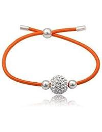 Bracelet Élastique Avec Cristaux Swarovski Et Argent - Por Enfants - Couleur Orange
