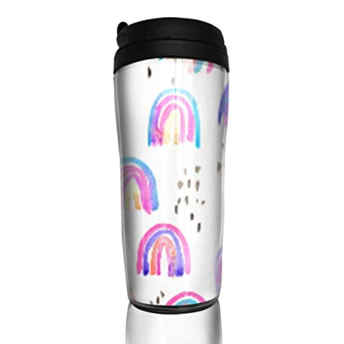 Travel Coffee Mug Rainbows in The Sky 12 Oz Spill Proof Flip Lid Water Bottle Environmental Protection Material ABS