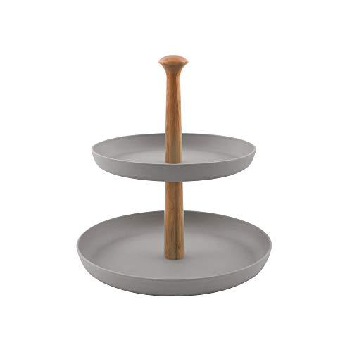 Point-Virgule Etagere mit 2 Etagen zum Servieren von Obst, Brownies oder Anderen Desserts, Küche Deko Ständer mit Bambus Schalen, 19 cm und 25 cm Durchmesser, inklusiv Stangen Set, Grau
