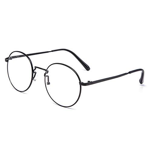 Shiduoli Mode-Rund Brillen Rahmen Brillen Nicht verschreibungspflichtigen Brillen gefälschte Brille für Männer (Color : Black)