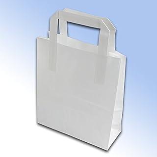 50 White Kraft Paper Carrier Bags (Block Bottom) 175 x 90 x 215mm (7 x 3.5 x 8.5