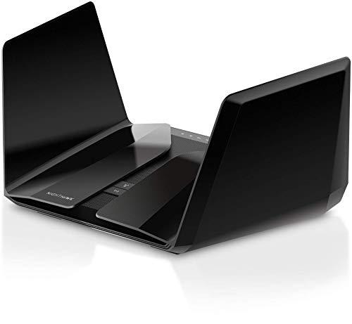 Netgear Nighthawk RAX120-100EUS AX6000 WiFi 6 Router (12 Streams, bis zu 6 Gbit/s, 4x Gigabit + 1x 5G LAN Ports, 802.11ax, 2.2 GHz QC CPU, 2x USB 3.0, WPA3 Verschlüsselung, Steuerung per free App)