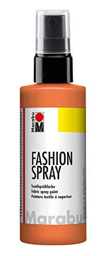Marabu 17190050225 - Fashion Spray, Textilsprühfarbe, m. Pumpzerstäuber, für helle Textilien, weicher Griff, einfache Fixierung, waschbeständig bis 40°C, tolle Effekte auf Stoff, 100 ml, mandarine