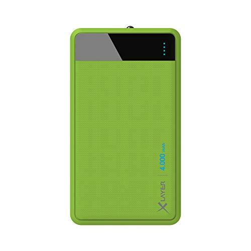 XLayer Colour Line Powerbank 4.000mAh, Externer Akku für Smartphone und Tablet, Powerbank klein, in bunten Farben, Grün