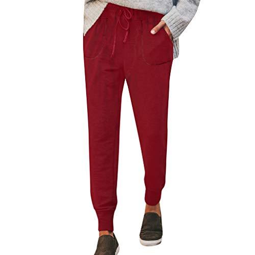 MMOOVV Hosen Damen Sommer Modern Classic City Elegant Volltonfarbe High Waist Freizeithosen Sporthosen Kordelzug Lang Hose (Rot S) Plaid Cropped Pants