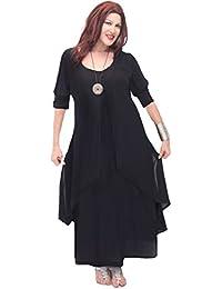 LOTUSTRADERS Damen Lagenlook Kurzärmel Kleid