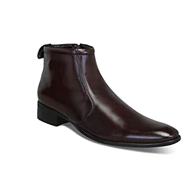 BIK BOK Men's Black Formal Zip Chelsea Moccasin Boots Shoes for Office, Meetings & Party Wear