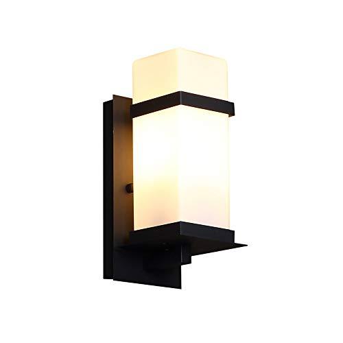 ZSAIMD Moderne Außenwand Laterne Lampe Gusseisen Gehäuse Mit Glasschirm, Wasserdichte Außenwand Lampe Licht für Veranda Hof Garage Wandleuchte E27 Edison Dekoration 1 Licht -