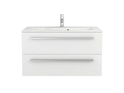 Sieper Waschtischunterschrank Libato - Unterschrank Verschiedene Breit - weiß oder anthrazit Hochglanz - Badmöbel Badezimmermöbel Waschtisch Unterschrank Badmöbel (90, weiß)