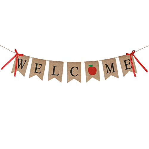 KAKOO Willkomen Banner mit Schleifen Apfel Wimpel Vintage Rustikal Sackleinen Buchstaben Welcome Girlande für Weihnachten Familie Party Dekoration Kinder Geburtstag Hochzeit Photo Booth Props