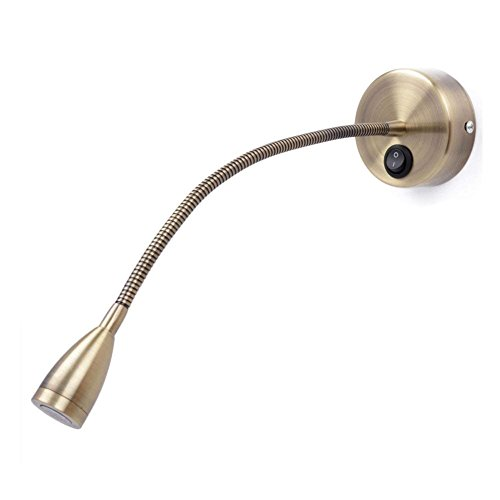 Meanyee flexible wandles Leuchten/Noche Lámpara de mesa con interruptor, 1* 3W CREE LED, bronce