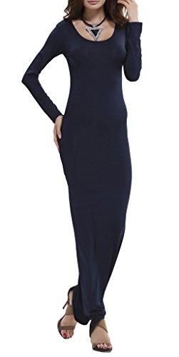 Smile YKK Maxi Femme Robe à Manche Longue Couleur Uni Col Rond Élégant Bleu Foncé