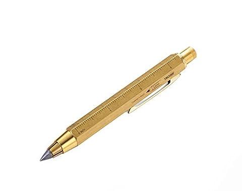 TROIKA ZIMMERMANN 5,6 – PEN56/AB – Crayon de charpentier – porte-mine mécanique (5,6 mm, mine HB) – règle en centimètres/en pouces – échelle 1:20 m/1:50 m – TROIKA-original