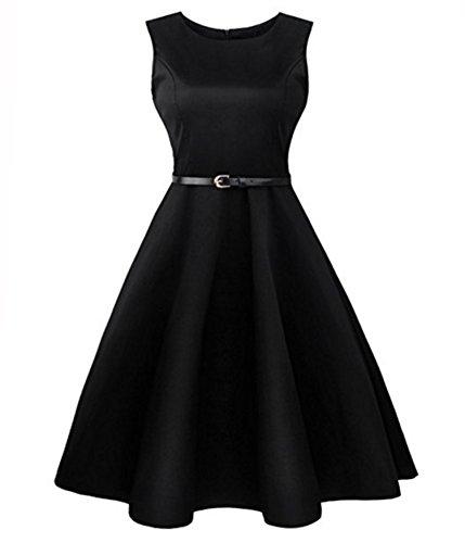 38 Retro Frauenkleider, Lylafairy Damen A-Linie 50er Vintage Abendkleid Rockabilly Kleid Knielang Festliches Pin Up Kleid Partykleider Cocktailkleider (38, Schwarz)