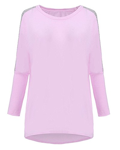 ZANZEA Femme Casual Lâches Sexy Manches Sequin Longues Hauts Blouse Tee Shirt Rose