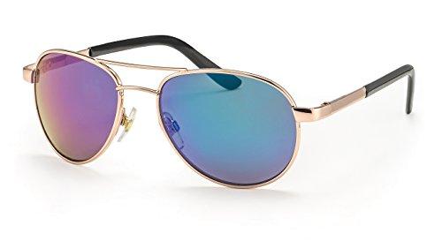 Filtral Pilotenbrille für Damen/Bunt verspiegelte Aviator Sonnenbrille aus Metall in Gold mit...