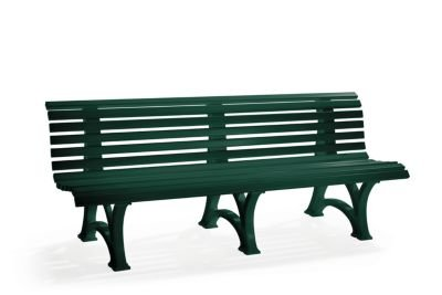 Parkbank aus Kunststoff - mit 13 Leisten - Breite 2000 mm, moosgrün - Bank Gartenbank Kunststoff-Bank Kunststoff-Bänke Ruhebank